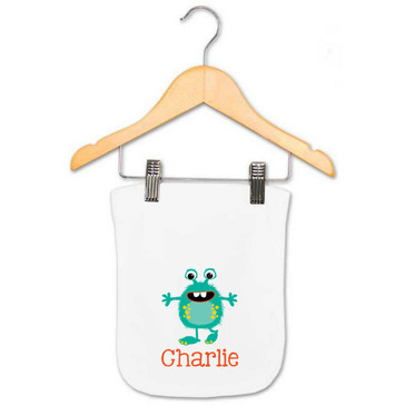 Teal Monster Baby Name Burp Cloth - Charlie