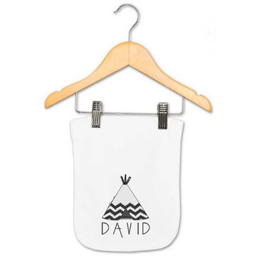 Chevron Teepee Personalised Burp Cloth - David