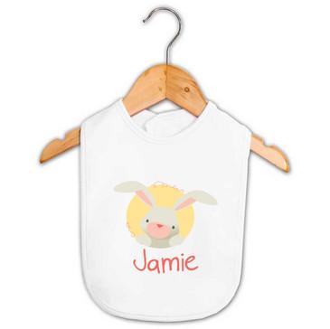 Coral Bunny Baby Name Bib - Jamie