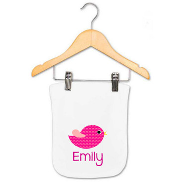 Personalised Baby Gifts - Pink Bird Burp Cloth - Emily