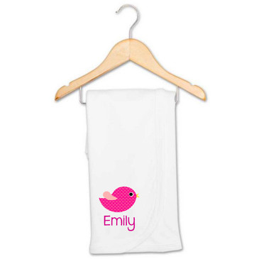 Personalised Baby Gifts - Pink Bird Blanket - Emily