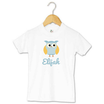 Personalised Blue Striped Owl Toddler T-shirt - Elijah