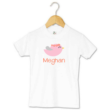 Toddler Name T-shirt - Pink and Coral Bird - Meghan