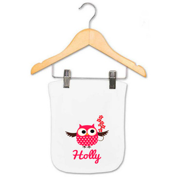 Personalised Baby Gift - Pink Flower Owl Burp Cloth - Holly