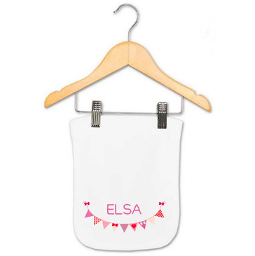 Personalised Purple Bunting Burp Cloth - Elsa