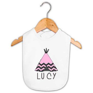 Pink Tee-Pee Baby Name Bib - Lucy