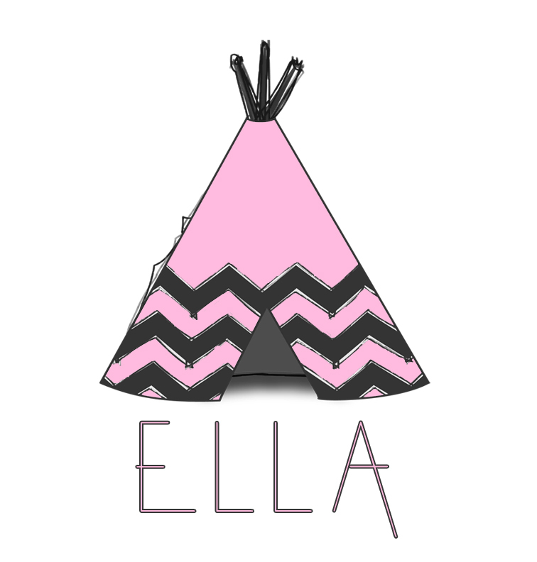 Pink Tee-Pee Baby Name Blanket - Ella
