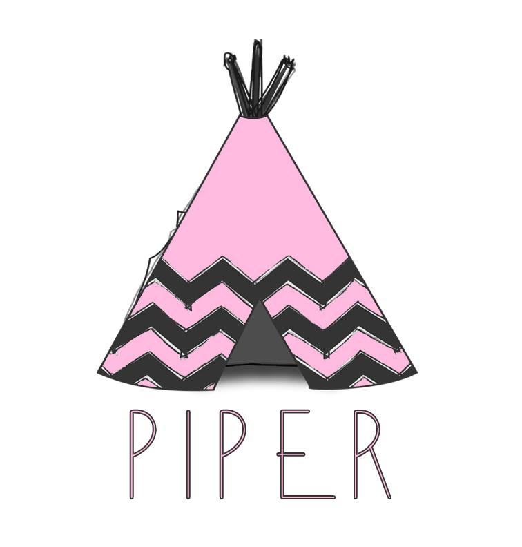 Pink Tee-Pee Baby Name Blanket - Piper