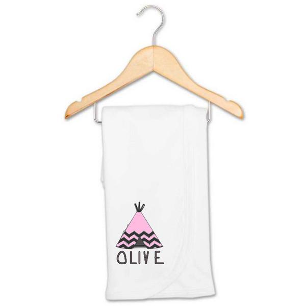 Pink Tee-Pee Baby Name Blanket - Olive