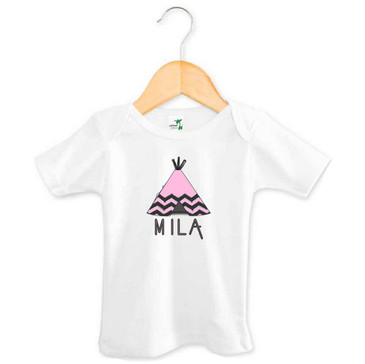Pink Tee-Pee Baby Name Top - Mila