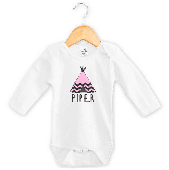 Pink Tee-Pee Baby Name Onesie - Piper