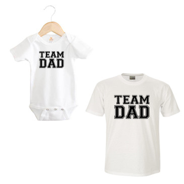TEAM DAD baby onesie and men's t-shirt matching set