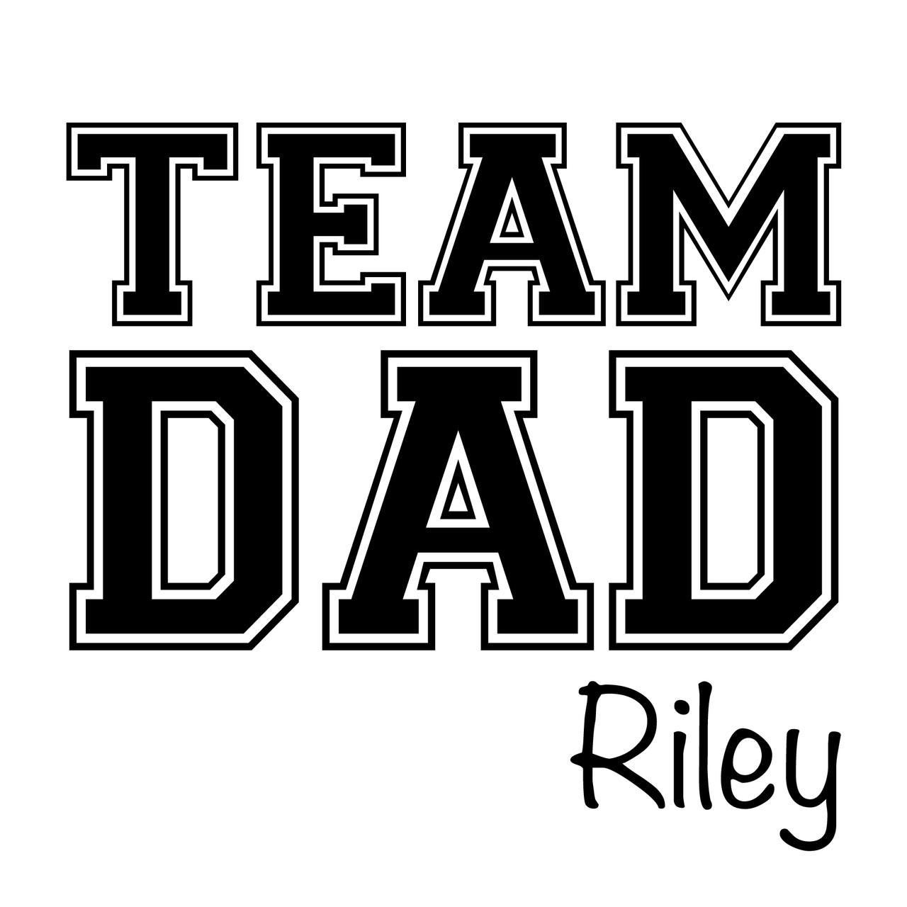 Team Dad Baby Name Long Sleeve Onesie