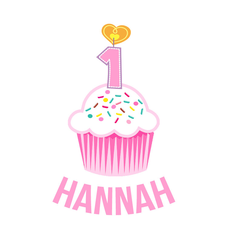 Personalised First Birthday Bib - Pink Cupcake - Hannah