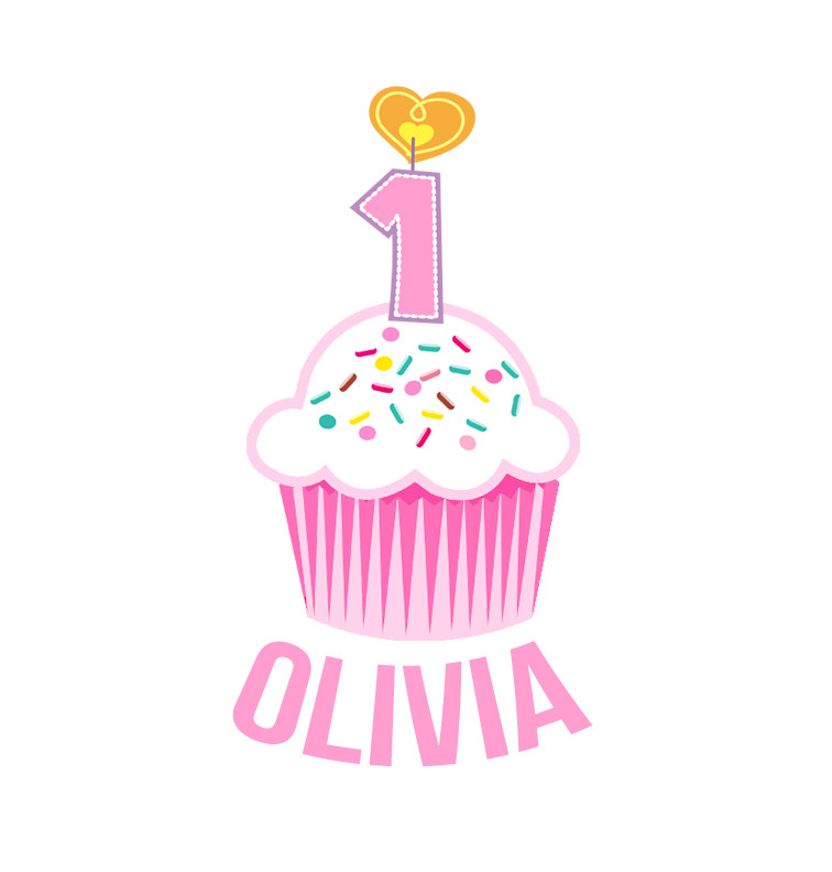 Personalised First Birthday Bib - Pink Cupcake - Olivia
