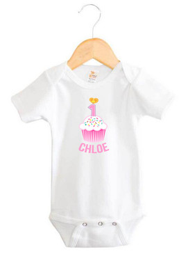 Personalised First Birthday Onesie - Pink Cupcake - Chloe