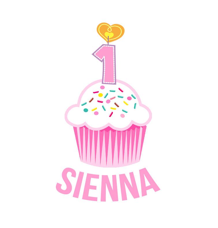 First Birthday Pink Cupcake Baby Name Dress Personalised