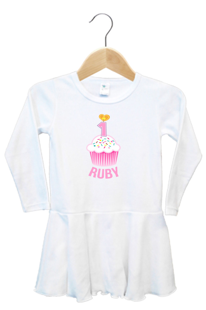cd4ef4d62 First Birthday Pink Cupcake Baby Name Dress