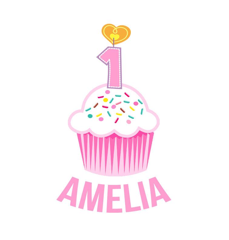 Personalised First Birthday Onesie - Pink Cupcake - Amelia
