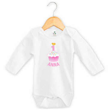 Personalised First Birthday Onesie - Pink Cupcake - Anna