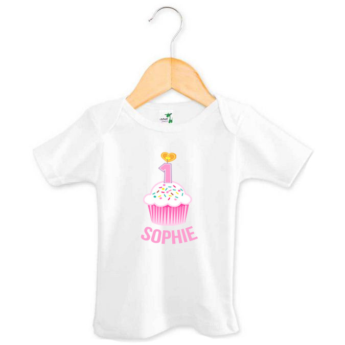 Personalised First Birthday Top - Pink Cupcake - Sophie