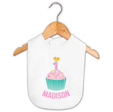 Personalised First Birthday Bib - Teal and Pink Cupcake - Madison