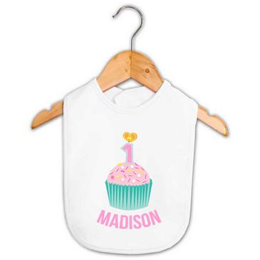 Personalised First Birthday Bib - Teal and Pink Cupcake - Madison