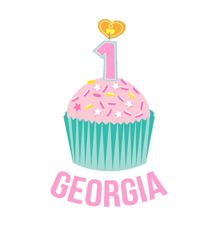 Personalised First Birthday Bib - Teal and Pink Cupcake - Georgia