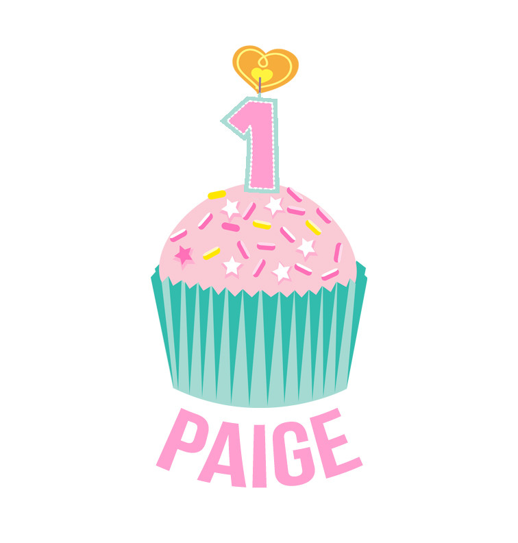 Personalised First Birthday Bib - Teal and Pink Cupcake - Paige