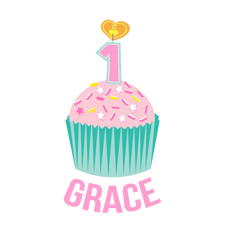 Personalised First Birthday Bib - Teal and Pink Cupcake - Grace