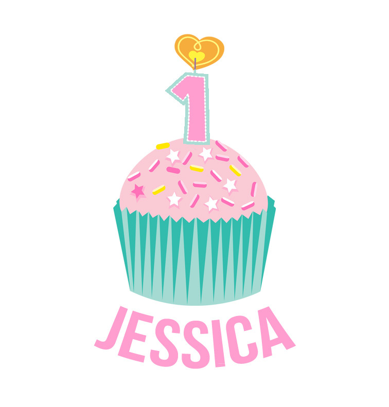 Personalised First Birthday Onesie - Teal and Pink Cupcake - Jessica