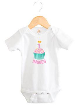 Teal & Pink First Birthday Cupcake Name Onesie