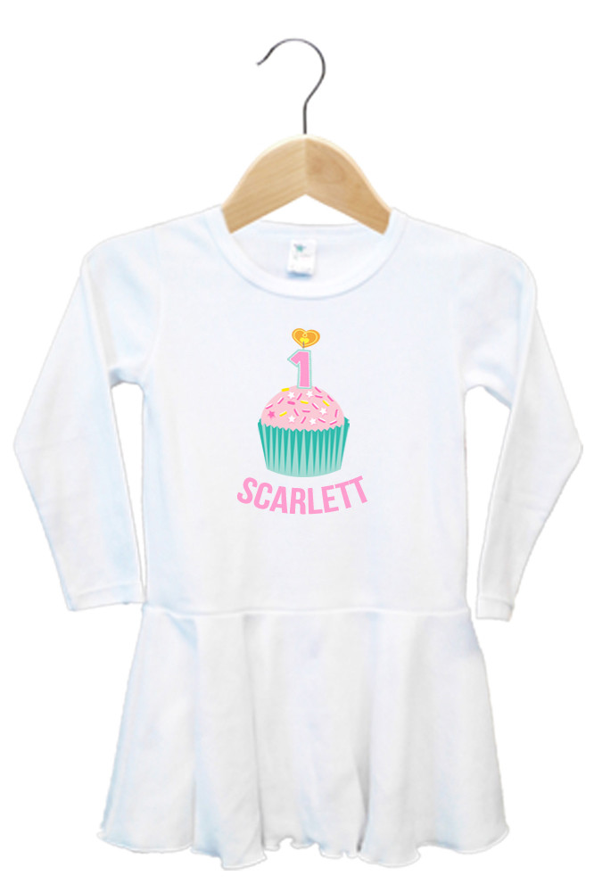 Personalised First Birthday Dress - Teal and Pink Cupcake - Scarlett
