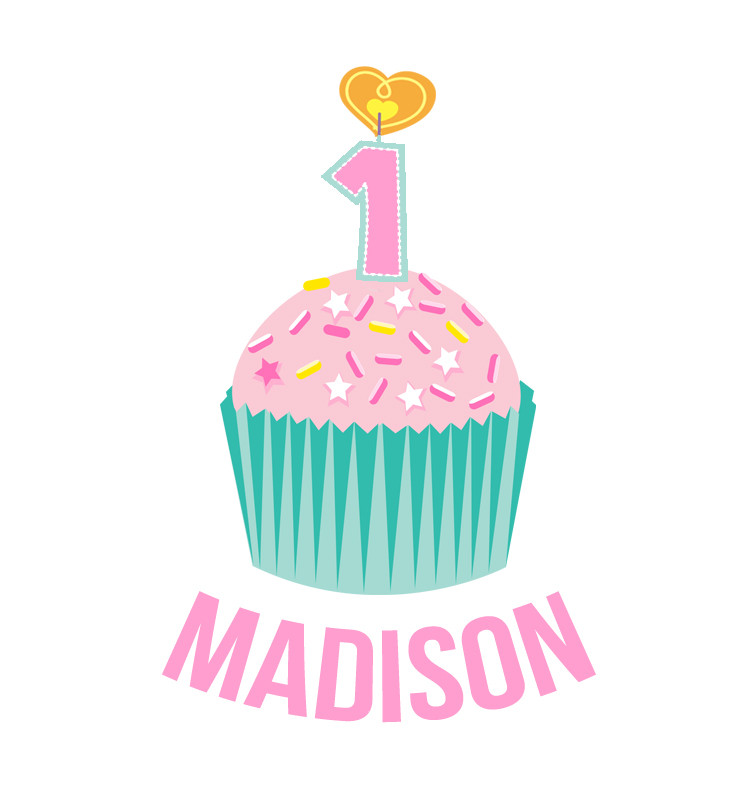 Personalised First Birthday Top - Teal and Pink Cupcake - Madison