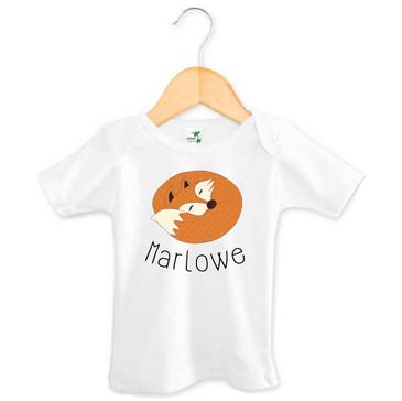 Sleeping fox baby name tee - Marlowe