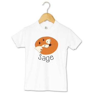 Sleeping fox toddler name t-shirt - Sage