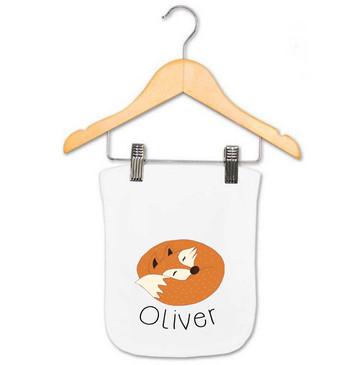 Sleeping fox baby name burp cloth - Oliver