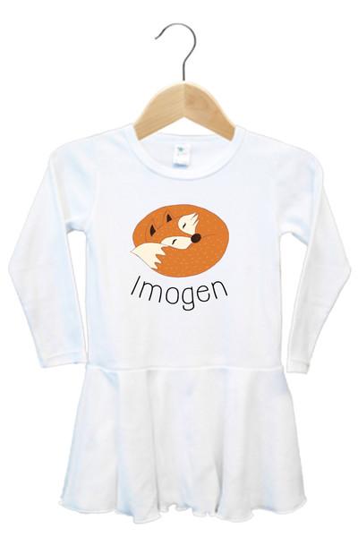 Sleeping fox baby name dress - Imogen