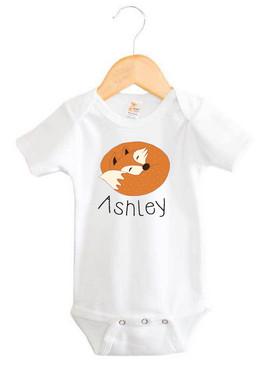 Sleeping fox baby name onesie - Ashley