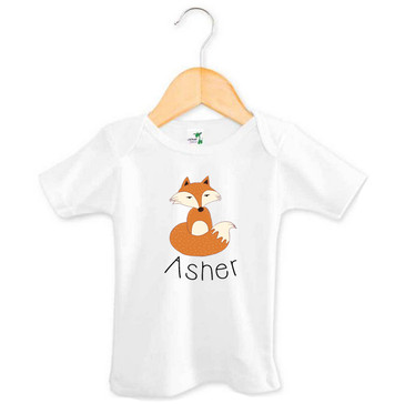Personalised Baby Name Fox T-shirt - Asher