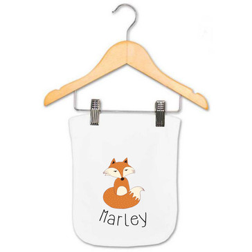 Personalised Baby Name Fox Burp Cloth - Marley