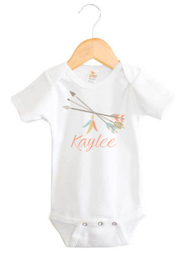 Tribal Arrows and Feathers Baby Name Onesie - Kaylee