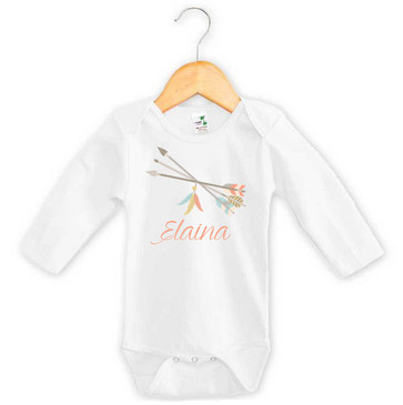 Tribal Arrows and Feathers Baby Name Onesie - Elaina