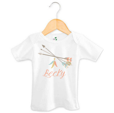 Tribal Arrows and Feathers Baby Name Top - Becky