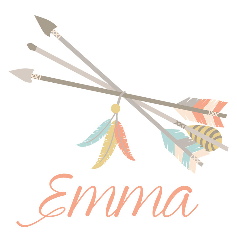Tribal Arrows and Feathers Baby Name Dress - Emma