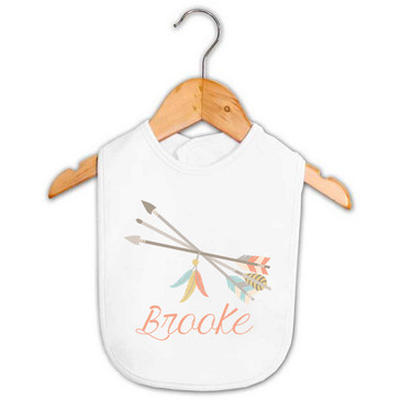 Tribal Arrows and Feathers Baby Name Bib - Brooke