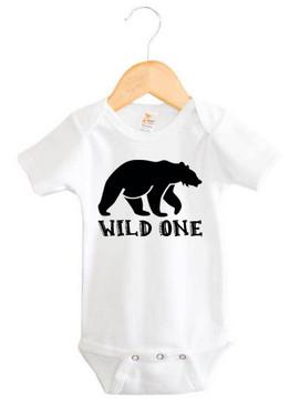 Black Bear Wild One Baby Onesie