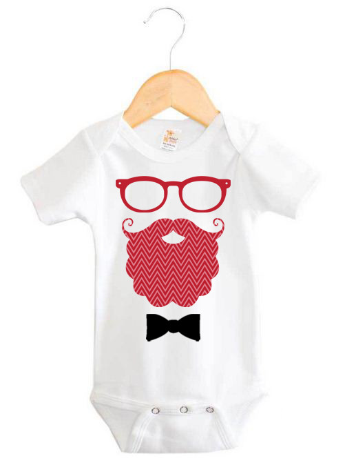 Hipster Santa Baby Onesie Custom Made Baby Christmas Gifts Word On Baby