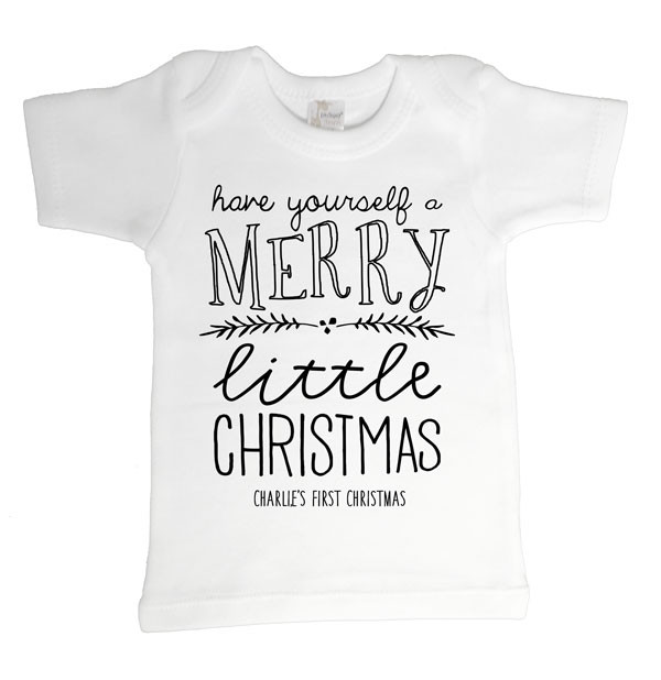Merry Little Christmas Baby Tee | Personalised Baby Gifts ...