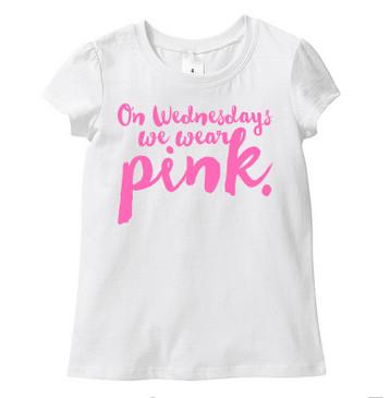 HANDLETTERING - On Wednesdays we wear pink kids tee